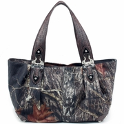 Mossy Oak Camo Shoulder bag - Coffee Croco Trim/Hinge Handles (2228-CF)