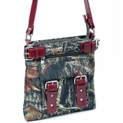 Camouflage crossbody bag with belted trim and strap - camouflage/ red