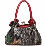 Camo Shoulder bag with Floral Trim and Handles - Red
