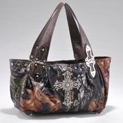 Camouflage Shoulder Bag w/ Cross Accent & Croco Trim (53660-CF)