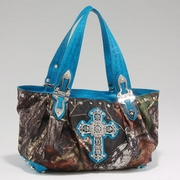 Camouflage Shoulder Bag w/ Cross Accent & Croco Trim (53660-TQ)