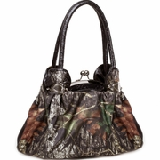 Camouflage Shoulder Handbag - Floral Embossed Trim &  Handle/Black
