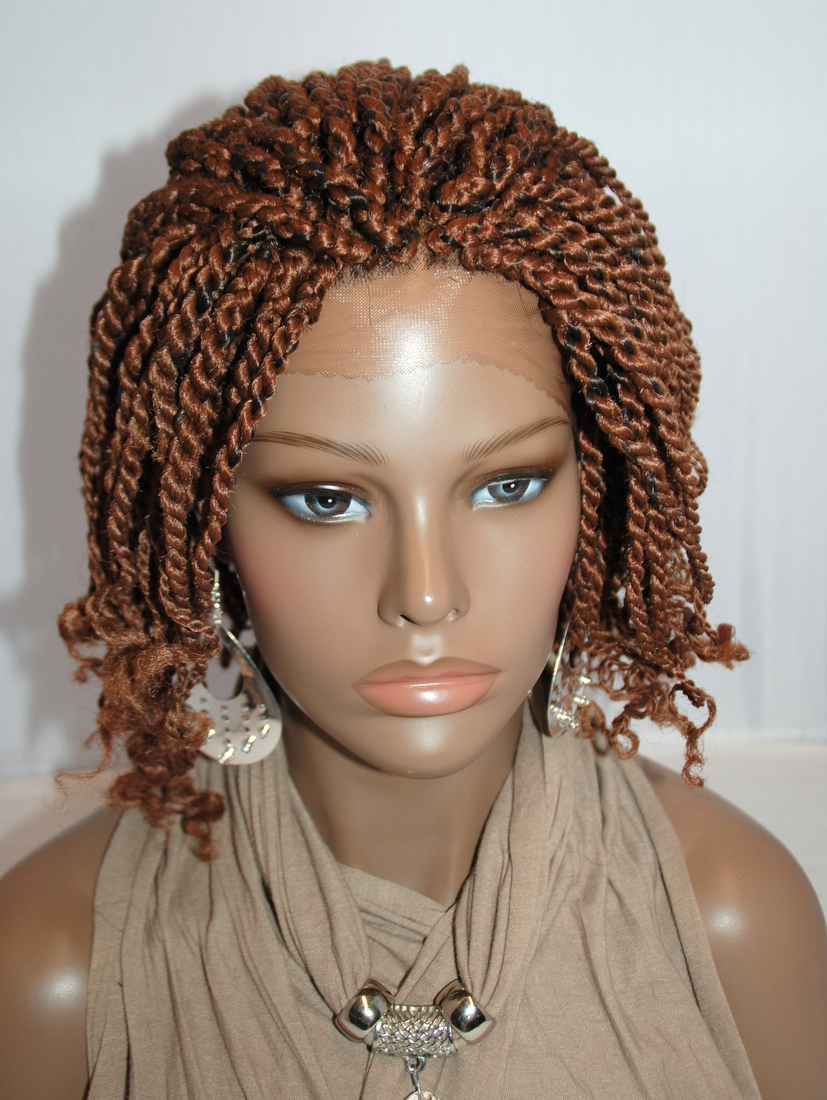 Fully Hand Braided Lace Front Wig Kinky Twist Color 1b In