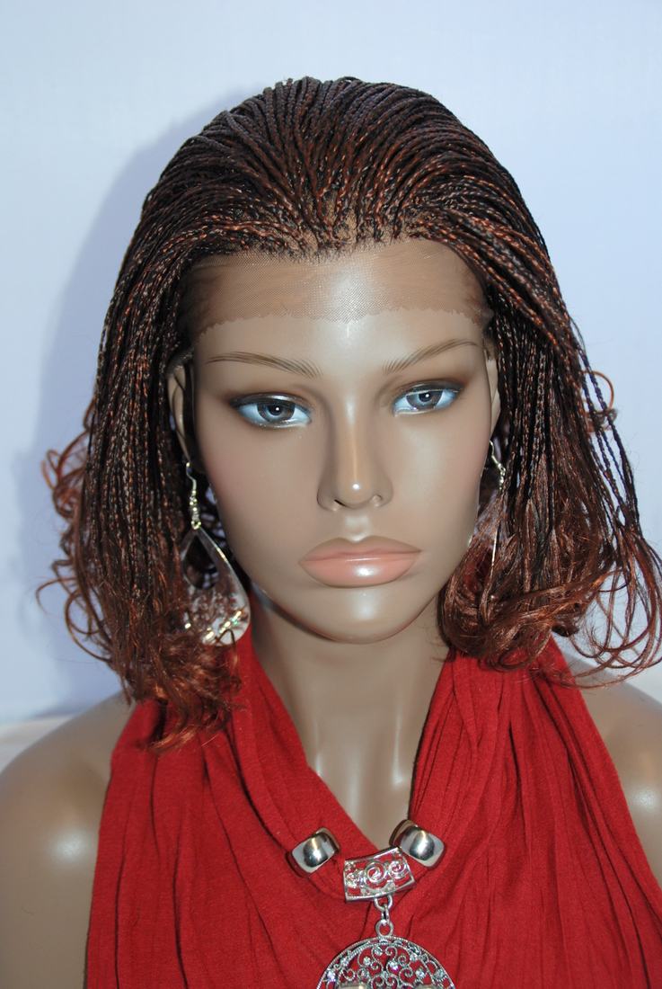 Hand Braided Lace Front Wig Micro Braids Color 1 in 8 Inches (LINDA1 ...