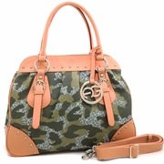 Large Studded Camouflage Style Satchel - Logo Charmed Tassel/Dark Green