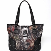Mossy Oak Camo Studded Tote Bag w/Buckle Accent (53340-BK)
