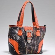 Mossy Oak Camo Studded Tote Bag  w/Buckle Accent (53340-OR)