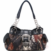 Mossy Oak camouflage buckle accent shoulder bag handbag (51747-BK)