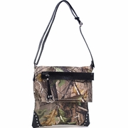 Realtree Camo Messenger Bag with Tassel and Stud Accents - Black Croco Trim