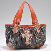 Camouflage Shoulder Bag w/ Cross Accent & Croco Trim (52989-OR)