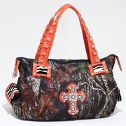 Mossy Oak Camouflage Fashion Shoulder Bag w/Croco Trim and Rhinestone Cross (52989-OR)
