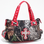 Mossy Oak Camouflage Fashion Shoulder Bag w/ Croco Trim and Rhinestone Cross (52989-RD)