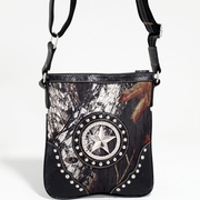 Mossy Oak Studded Camo Messenger Bag W/Rhinestone/Star (58807-BK)