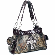 Realtree  camouflage shoulder bag w/ rhinestone cross (13246A-LC)