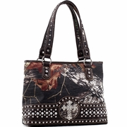 Mossy Oak Studded Camouflage Shoulder Bag  w/Cross (58799-BK)
