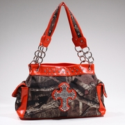Mossy Oak Studded Camouflage Shoulder Bag w/Rhinestone Cross (13246-OR)
