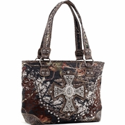 Mossy Oak Studded Camouflage Shoulder Bag w/Rhinestone Cross/Floral Trim (58796-CF)