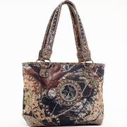Mossy Oak Studded Camouflage Shoulder Bag w/Rhinestone Star & Floral Trim (51940-APG-RD)