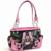 Mossy Oak Studded Camouflage Shoulder Bag w/Six Shooter Accent & Floral Trim (58793-PK)