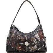 Mossy Oak Studded Camouflage Shoulder Bag with Rhinestone Cross and Floral Trim (40018-BK)