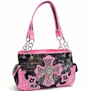 Mossy Oak Studded Camouflage Shoulder Bag With Rhinestone Cross/Floral Trim (58791-PK)