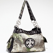 Real Tree camouflage Fleur de Lis accent shoulder bag handbag (52830A-MAX1BK)