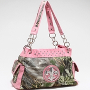 Real Tree Camouflage Fleur de Lis accent shoulder Handbag (52830a-MAX4PK)Light Pink