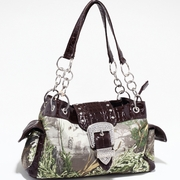 Real Tree Camouflage Shoulder bag handbag w/Buckle accent (51747A-CF)