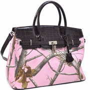 Realtree Belted Camouflage Tote Bag with Croco Trim and Tassel Accent (500676A-PK)