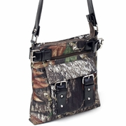 Camouflage crossbody bag with belted trim and strap