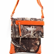 Realtree Camo Messenger Bag with Stud Accents - Orange