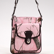 Realtree Camo Messenger Bag w/Twist Lock Closure Pocket - Pink Brown