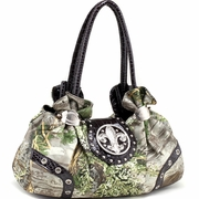 Realtree Camo Satchel Bag w/Rhinestone Fleur de Lis - Black Trim