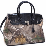 Realtree Belted Camouflage Tote Bag with Croco Trim and Tassel Accent (500676A-BK)
