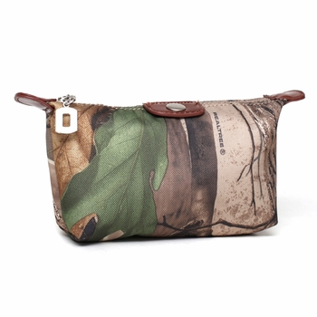 Realtree Camouflage Cosmetic bag - Faux Leather Trim/Brown
