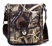 Realtree Camouflage Crossbody Messenger Bag w/Twist Lock - Coffee