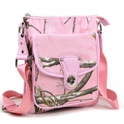 Realtree Camouflage Crossbody Messenger Bag w/Twist Lock - Pink