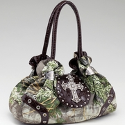 Realtree Camouflage Satchel Bag - Rhinestone Cross/Coffee