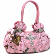 Realtree Studded Camouflage satchel bag - Rhinestone Cross/Pink