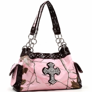Realtree camouflage shoulder bag w/ rhinestone cross (13246A-PKBR)
