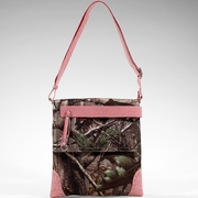 Realtree Camouflage Messenger Bag with Tassel and Stud Accents - Light Pink/Croco Trim