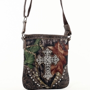 Mossy Oak Studded Camouflage Messenger Bag w/Rhinestone Cross (58806-CF)