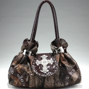 Realtree Studded Camo Satchel Bag - Rhinestone/Coffee