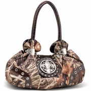 Realtree Studded Camo Satchel bag with Rhinestone Fleur de Lis - Coffee Trim