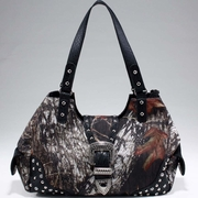 Studded Camouflage Shoulder Bag w/Rhinestone Buckle (51556B-CF)