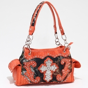 Studded Camouflage Shoulder bag with Rhinestone Cross (53113-OR)