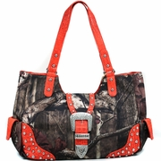 Studded Camouflage Shoulder Bag w/Rhinestone Buckle (51556B-OR)