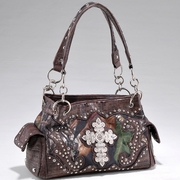 Studded Camouflage Shoulder bag with Rhinestone Cross (53113-CF)