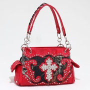 Studded Camouflage Shoulder bag with Rhinestone Cross (533113-RD)