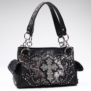 Studded Camouflage Shoulder bag with Rhinestone Cross (53113-BK)